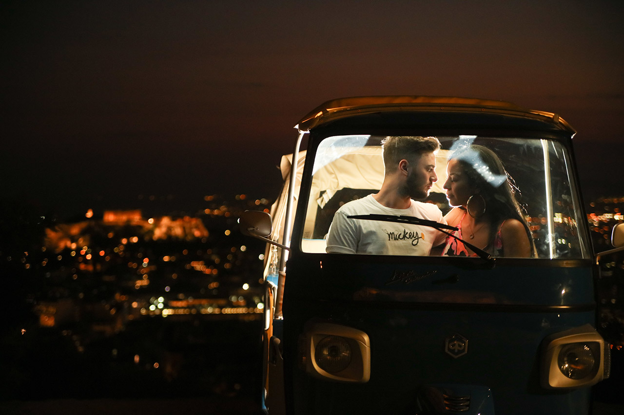 Tuk Tuk in Athens by night! Explore another city's aspect with our tour escort!!